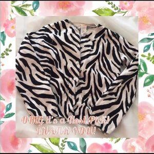 Zebra print girls cardigan with sparkle buttons
